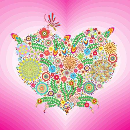 Photo pour Coeur de fleurs avec papillon et fond rose, floral - image libre de droit