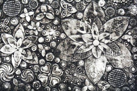 Flowers, abstract grunge surface,