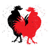 Two red and black roosters