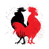 Red and black roosters