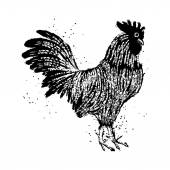 Chinese hand drawing rooster