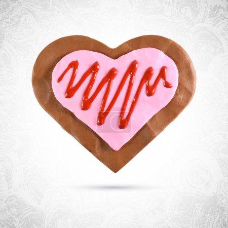 Illustration pour Biscuit au chocolat valentin en forme de coeur, gingembre à la crème rose et sirop de cerise ou de fraise, en pâte, plasticine ou pâte à modeler, vecteur isolé, sculpture alimentaire - image libre de droit