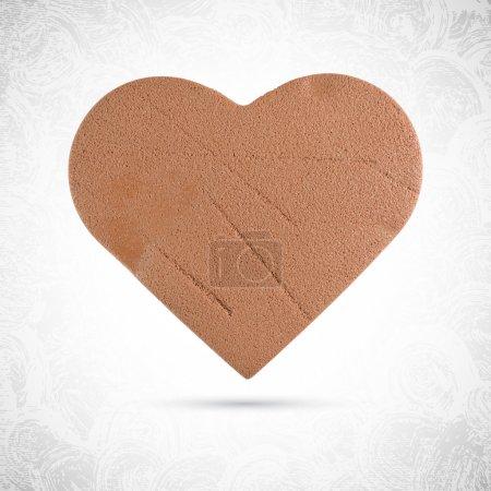 Illustration pour Biscuit au chocolat valentin en forme de coeur, pain d'épice en pâte, plasticine ou pâte à modeler, vecteur isolé, sculpture alimentaire - image libre de droit