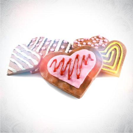 Heart shaped valentine chocolate cookies
