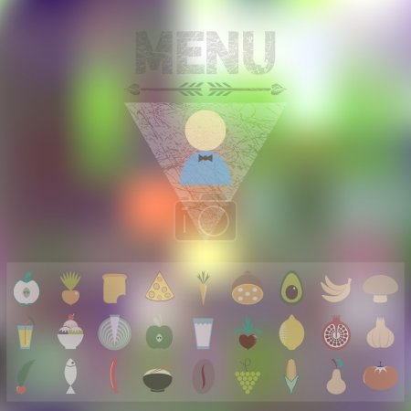 Photo for Menu of organic food Icons. Web interface and mobile app design with blurred effect background. Restaurant cover design template - Royalty Free Image