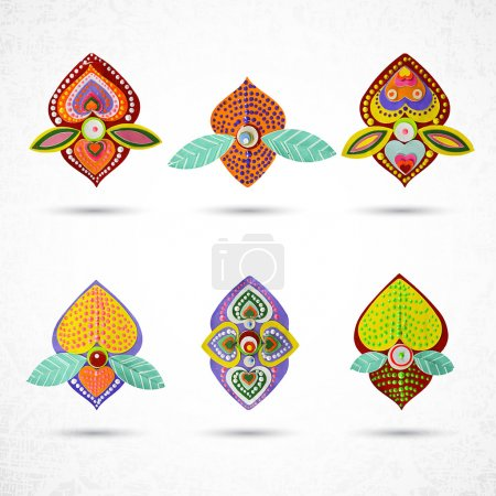 Abstract flowers vector icons set, collection of g...