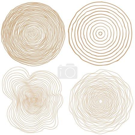 Illustration pour Ensemble d'anneaux vectoriels arbre fond et scie tronc d'arbre coupé - image libre de droit