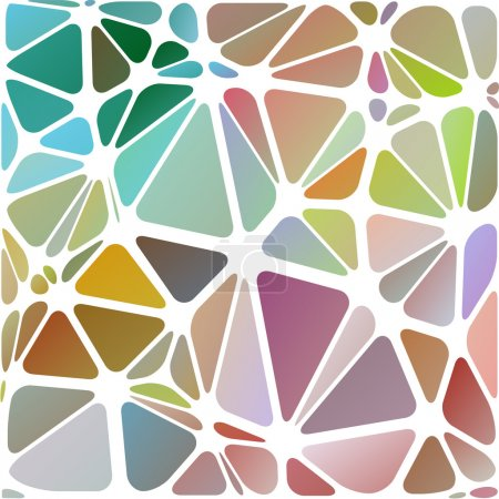 Illustration for Triangular abstract, white lined multicolored illustration background, vector, digital technology object. - Royalty Free Image