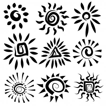 Illustration for Sun icons set. Vector illustration. Doodle. - Royalty Free Image