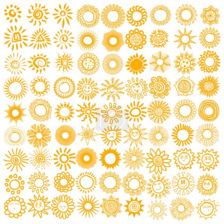Illustration for Vector set of sun symbols. - Royalty Free Image