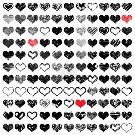 Illustration for Vector set of hand drawn hearts. Red and black color. Vector illustration - Royalty Free Image