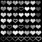 Постер, плакат: Set of grunge hearts