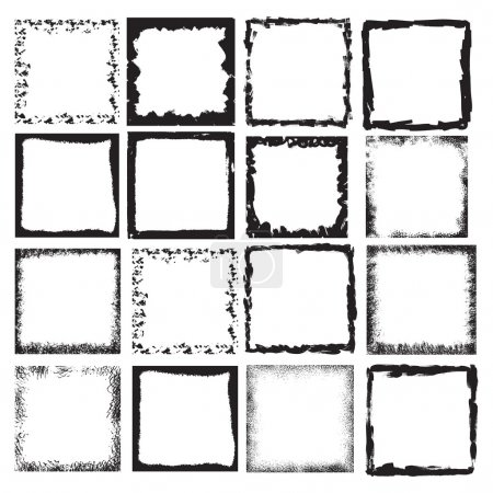 Illustration for Vector Vintage Grunge Brush Stroke Dirty Overlay Distress Border Frame. Square in Grungy Style for your Design . Overlay Texture . - Royalty Free Image