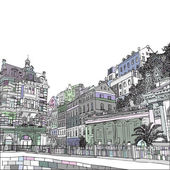 The Mill Colonnade with hotel, the biggest colonnade in Karlovy Vary, Czech Republic. Vector sketch hand drawn collection, Is one of the traditional symbols of the town, containing several hot springs. Tourists  travel, popular routes.