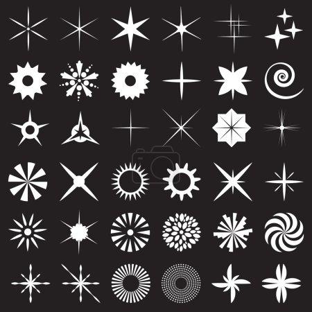 Illustration pour Grand ensemble vectoriel scintillant de 36. Étoiles icônes avec des rayons pour l'explosion, feux d'artifice Effets de lumière sur le verre, l'eau ou l'objectif de l'appareil photo. Flash magique . - image libre de droit