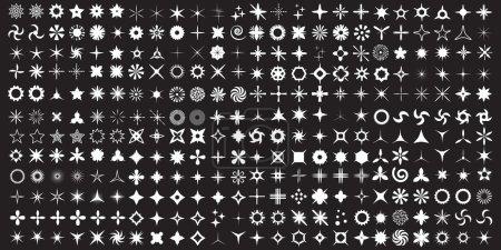 Illustration pour Super Set d'icônes vectorielles scintillantes. Lumineux effet de lumière étoiles et éclats collection. Feu d'artifice lumineux, scintillement de décoration, objectif brillant ou flash de l'appareil photo. Près de trois cents éléments faits main . - image libre de droit