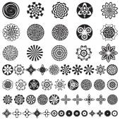 Over 50 beautiful abstract flower icons Vector floral designs for custom patterns Collection of different spring and summer flowers Floral batch