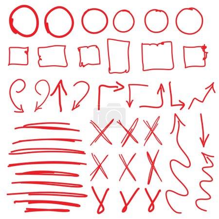 Red circle set, scribbles