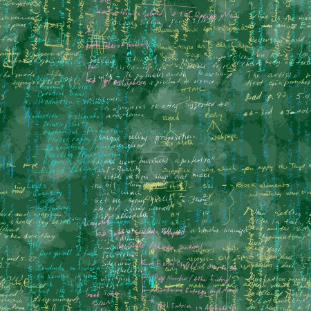 Vector seamless pattern with real hand written Latin text on green chalk board.
