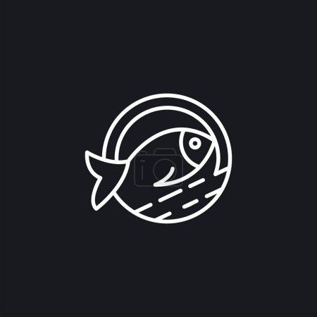 Illustration pour Inspirations de conception de logo vectoriel de poisson Line Art - image libre de droit