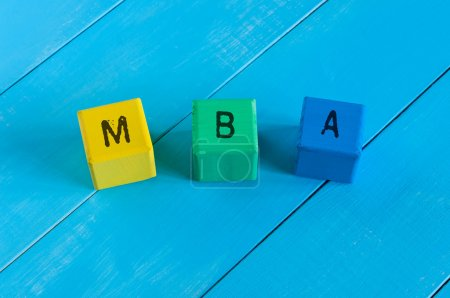text MBA  Master of Business Administration on colorful wooden cubes
