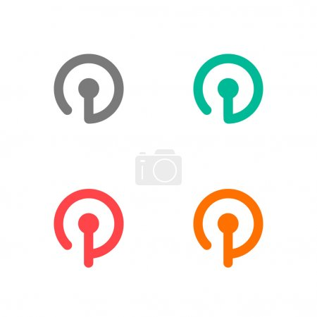 Illustration for Set of four colourful logos on the white background - Royalty Free Image
