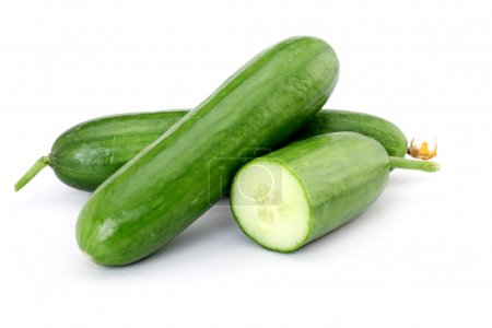 Photo for Cucumber slices isolated over white background. - Royalty Free Image