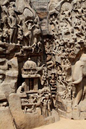 Photo pour Pénitence d'Arjuna - Descente du Gange, Mahabalipuram, Chennai, Tamilnadu, Inde - image libre de droit