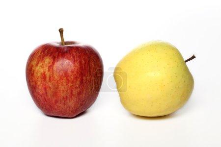 Photo pour Pommes rouges et jaunes sur fond blanc - image libre de droit