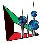 An icon of the most renown Landmarks of Kuwait on a Kuwaiti flag background