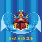 An Icon Of A Sea Fire Fighting Red Color Boat With A Crew Member On Board