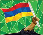 Strong Hand Raising The Armenian National Flag