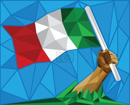Man Raising Italy's National Flag