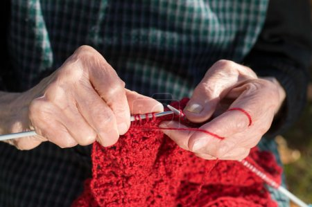 Senior woman hands knitting with red wool