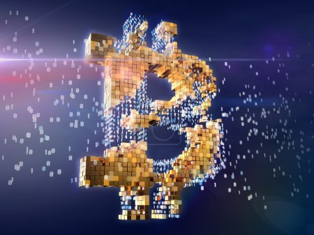 Photo for Numbers turning into golden bitcoin sign. Blockchain concept. 3D illustration - Royalty Free Image