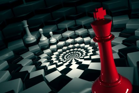 Photo for Red chess king on round chessboard vs white figures - Royalty Free Image