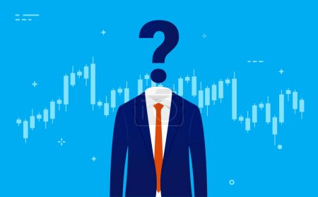 Stock market trader - Man in suit with head replaced by question mark in front of chart. Impossible prediction, rise or fall, unknown economic future concept. Vector illustration.