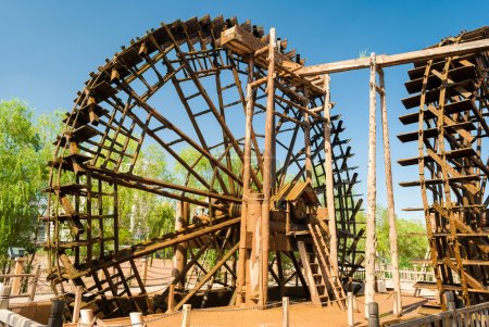 Traditional wooden waterwheel in Lanzhou (China)