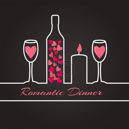 Illustration for Ribbon silhouette of a romantic dinner for two - Royalty Free Image