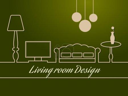 Illustration for Living room design. Vector illustration - Royalty Free Image
