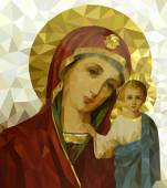 Vector illustration of Mother Mary with Jesus Christ in  polygonal style