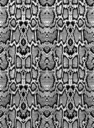 Snake skin texture. Seamless pattern black on whit...