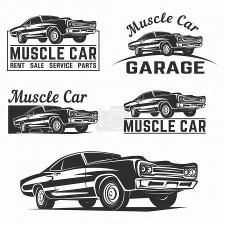 Muscle car vector logo emblem