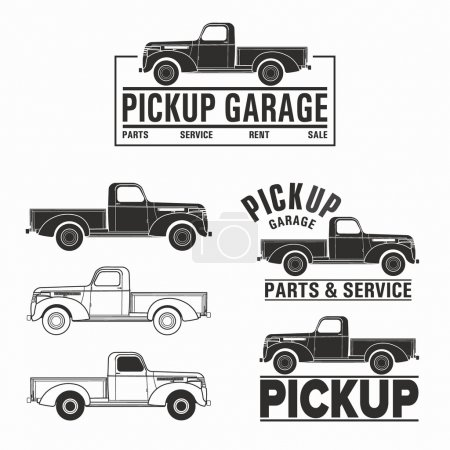 car 4x4 pickup truck off-road logo elements