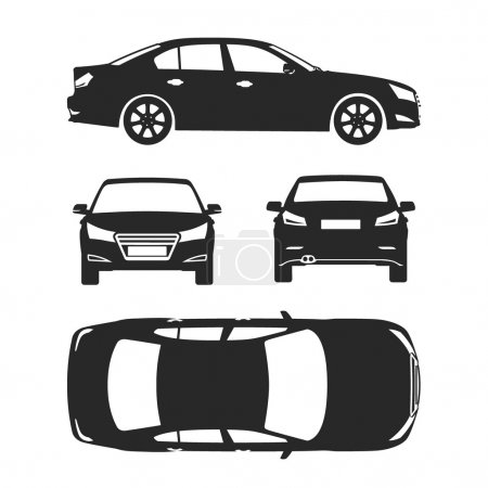 Car silhouette icons four all view top side back insurance, rent damage, condition report form blueprint