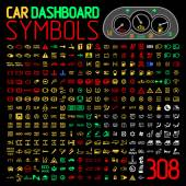 vector collection of car dashboard panel indicators and warning lights