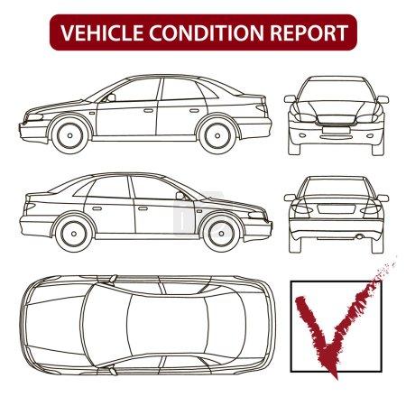 Illustration pour Ligne de voiture tirage loyer état des dommages formulaire de rapport - image libre de droit