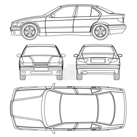 Illustration pour Ligne de voiture dessiner les dommages d'assurance, formulaire de rapport d'état - image libre de droit