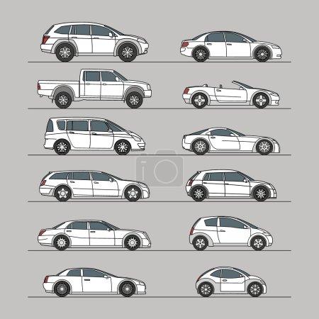 Illustration pour Icône de voiture set illustration vectorielle - image libre de droit