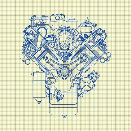 Illustration pour Dessin vieux moteur sur papier graphique. Fond vectoriel - image libre de droit
